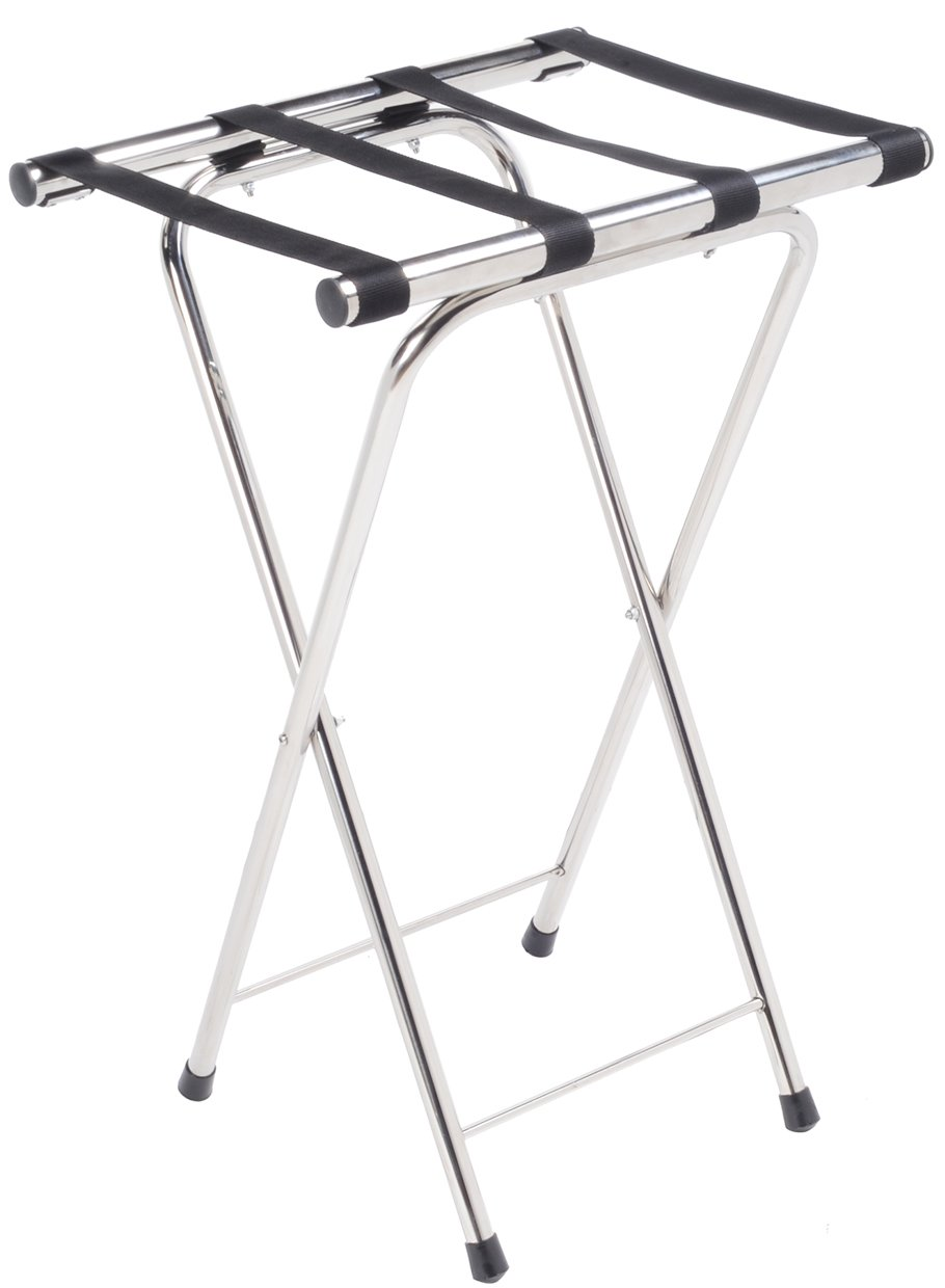 AMENITIES DEPOT Folding Chrome Stainless Steel Tray Stand (J-12) AD