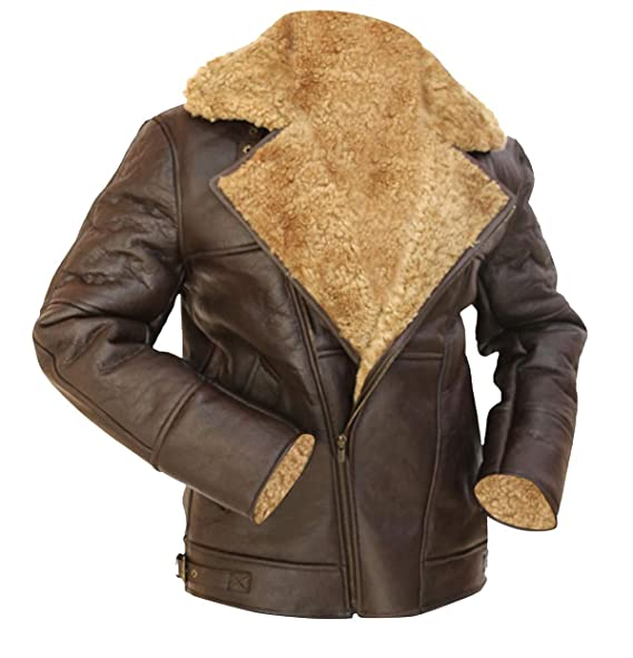 Amazon.com: B3 Brown Winter RAF - Chaqueta de piel de oveja ...