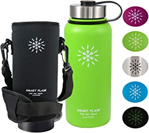 Smart Flask Stainless Steel Water Bottle, Wide Mouth, Vacuum Insulated, Includes Carrying Pouch with 59 inch Shoulder Strap, Rugged Leakproof Stainless Steel Lid, and Flip Top Coffee Lid