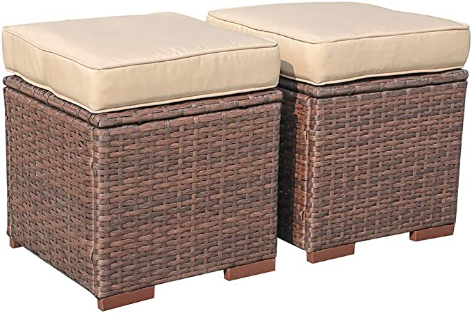 Brown Patio Rattan Furniture Outdoor Footstool Footrest Seat w//Removable Cushions Tangkula 2 Pieces Outdoor Patio Ottoman All Weather Rattan Wicker Ottoman Seat