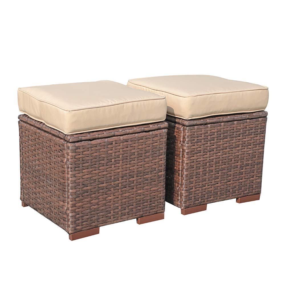 Super Patio Outdoor Patio Ottoman, 2 Piece All Weather Wicker Rattan Ottoman Set with Cushion, Steel Frame, Brown