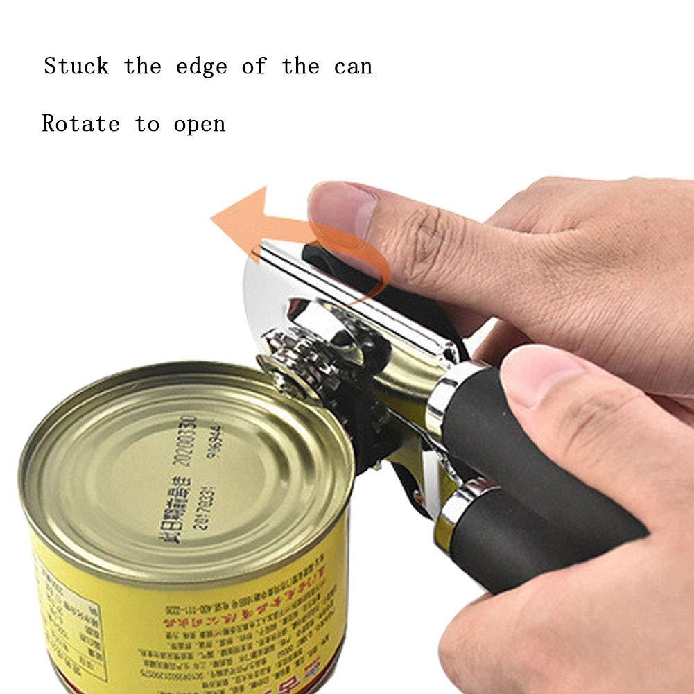 Multi Bottle Opener Stainless Steel Can Opener Manual Bottle Opener Heavy Duty Ergonomic Anti Slip Food-Safe Smooth Edge Including 2 Spare Blades and 1 Bottle Opener