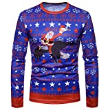 Men Christmas Gift Autumn Winter Xmas PrintingTop Mens Long-sleeved T-shirt Blouse (S, Multicolor)