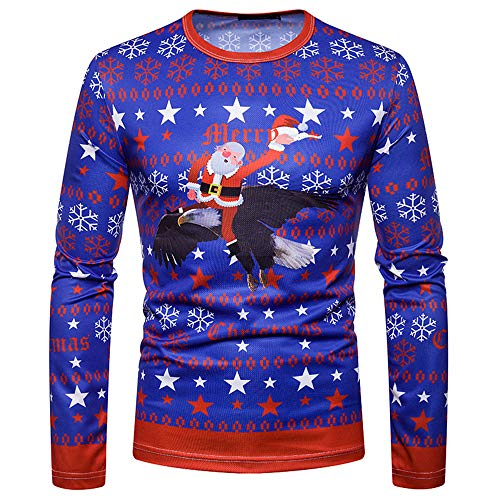 Men Christmas Gift Autumn Winter Xmas PrintingTop Mens Long-sleeved T-shirt Blouse (S, Multicolor) by Fheaven (TM)