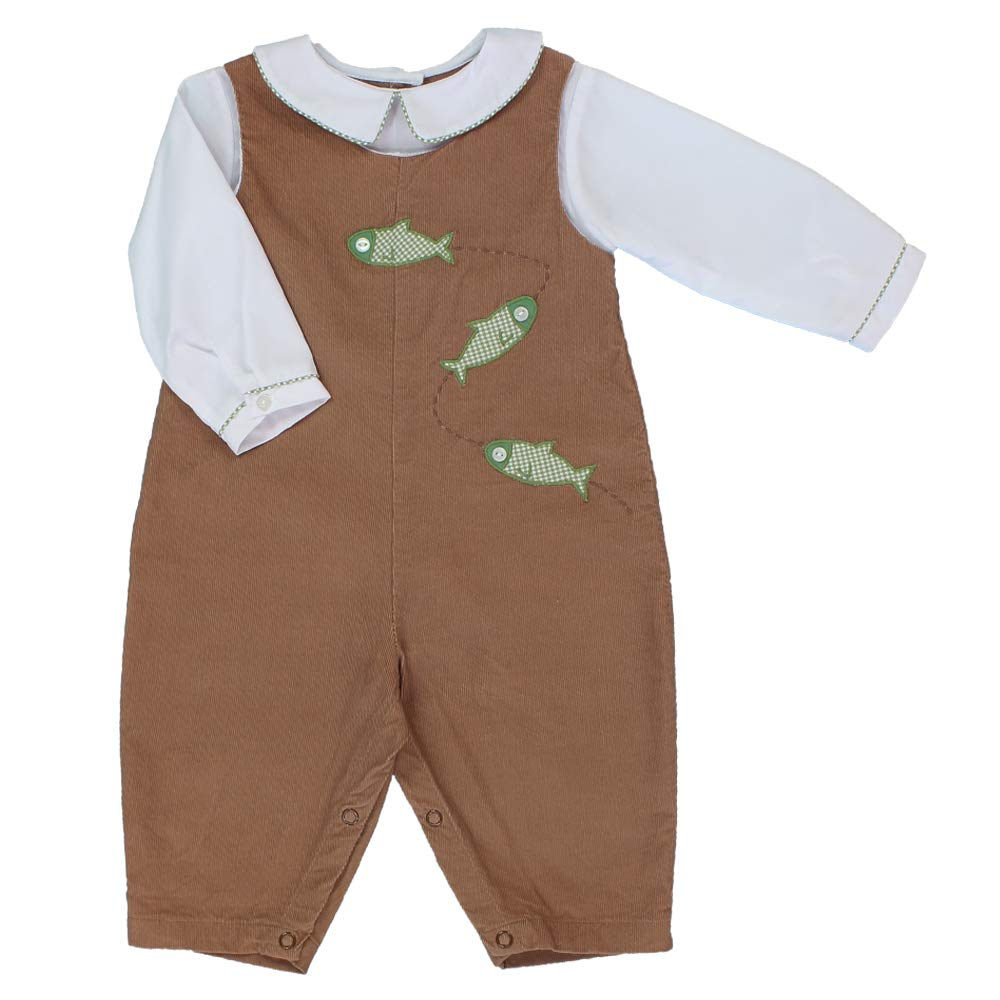 Petit Ami Baby Boys' Fish Applique Longall with Mock Shirt, 6 Months, Brown by Petit Ami