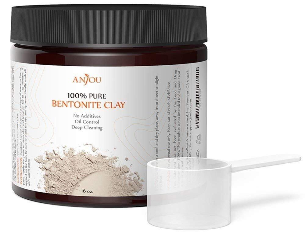 Anjou Bentonite Clay Mask Powder, 16 oz, Natural Healing Clay Powder Facial  Mask to Exfoliate and Deep