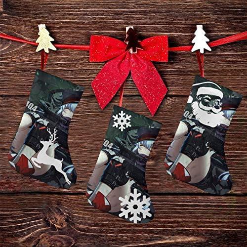 クリスマスの日の靴下 (ソックス3個)クリスマスデコレーションソックス かわいい漫画の女の子の戦争 クリスマス、ハロウィン 家庭用、ショッピングモール用、お祝いの雰囲気を加える 人気を高める、販売、プロモーション、年次式