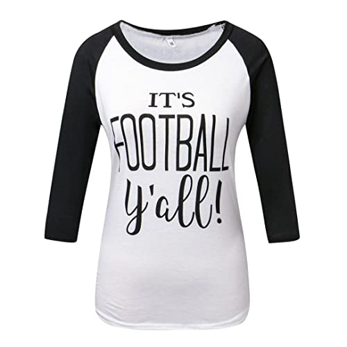 Rcool Basic 3/4 manga Raglan, Camiseta para Mujeres, Casual Primavera Otoño Letters Imprimir Camiseta Top Blusa