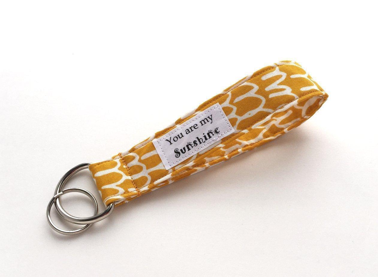 Keychain Wristlet - Yellow Organic Fabric Key Lanyard - You are My Sunshine