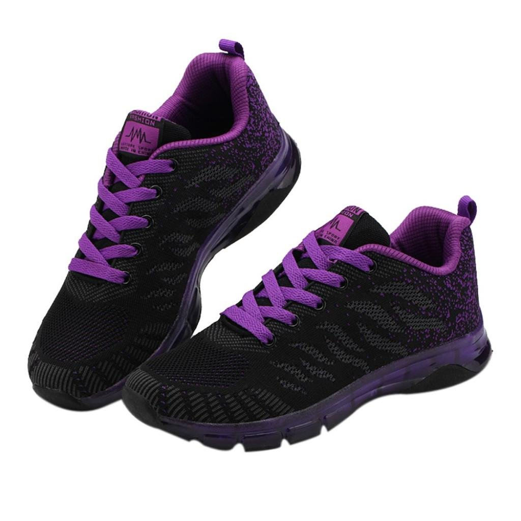 Kinrui Women's Comfortable Platform Walking Sneakers Lightweight Casual Tennis Air Fitness Shoes (Purple, US:8)