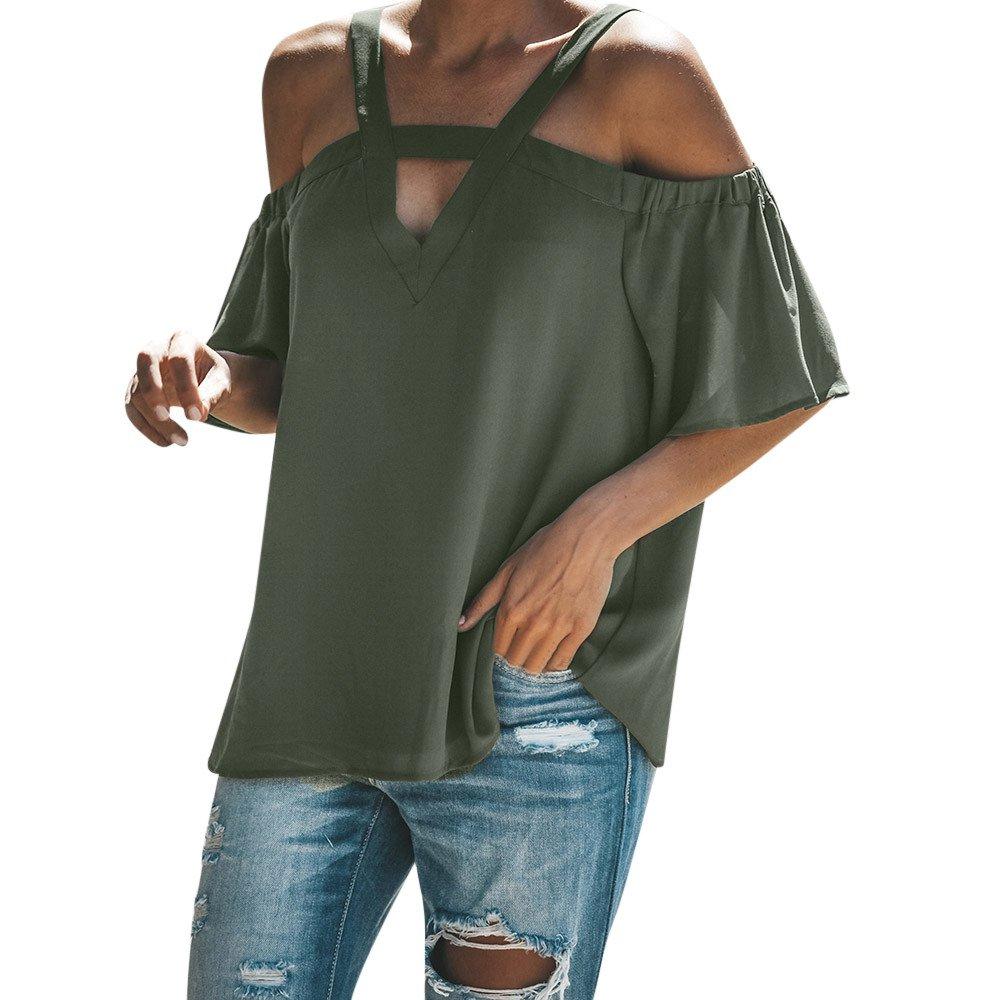 Vickyleb Women Tops Cold Off Shoulder Top Tunic V Neck Short Sleeve T Shirts Women Tops Summer Blouse Green