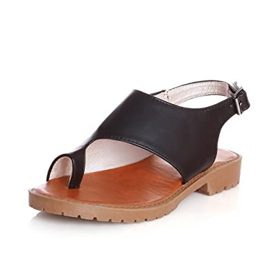 f79ba82e70c2 WeiPoot Women s Low-Heels Soft Material Solid Buckle Split Toe Flip-Flop- Sandals