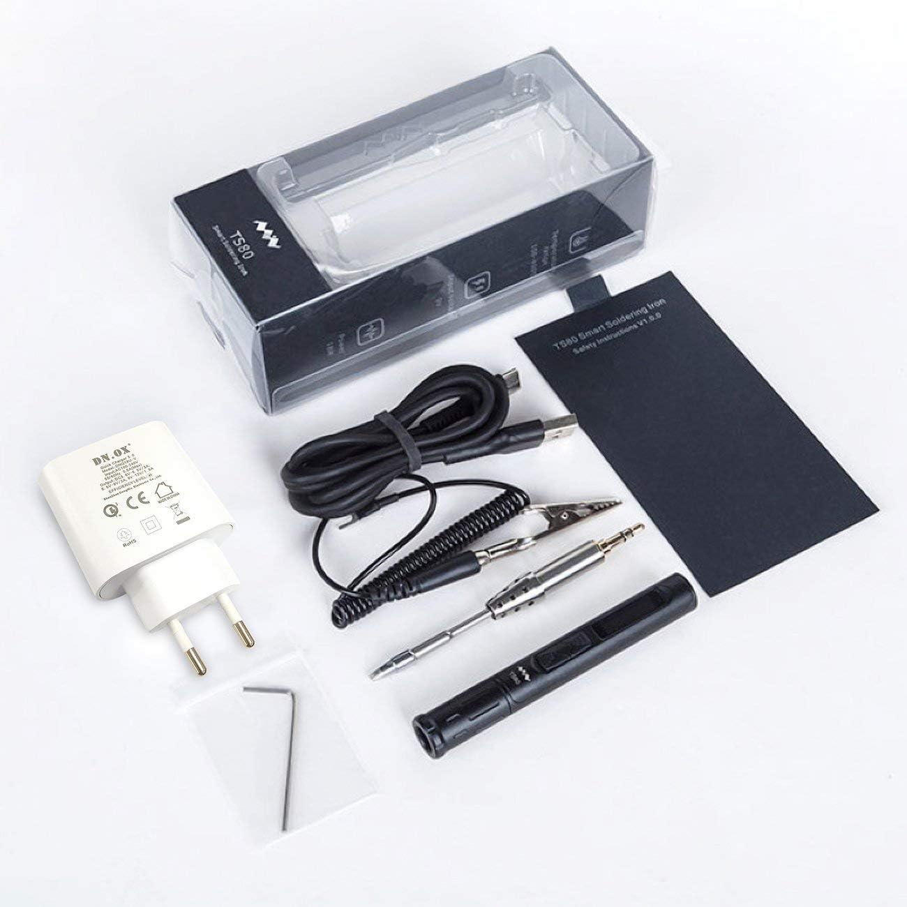 JIUY TS80 Mini Portátil Digital Soldador eléctrico Temperatura Ajustable Tipo C TS-B02 D25 Punta de Soldadura QC3.0 Kit de Cargador rápido (Negro y UE)