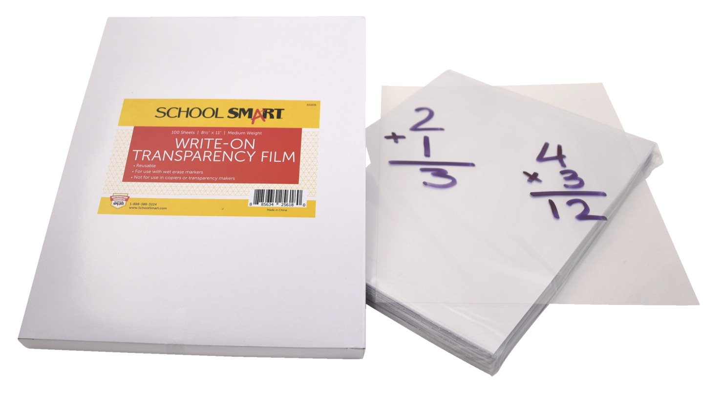 School Smart Medium Weight Write-On Transparency Film - 8 1/2 x 11 - Pack of 100