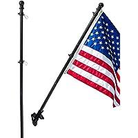 SANDEGOO Flag Pole Kit, 5FT Flag Pole with Wall Mounted Bracket and 3×5 Free Embroidered American Flag Rustproof Tangle…
