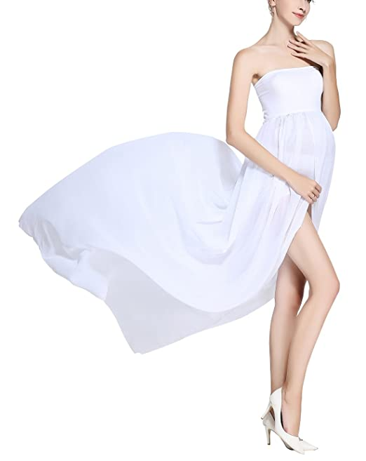 FEOYA Vestido Largo de Maternidad Dividido Tubo Superior Cintura Alta Fotografía Algodón Elegante Blanco L