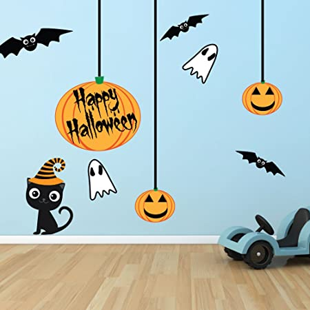 Halloween Wall Sticker Set - Repositionable Fabric Wall Stickers - Large