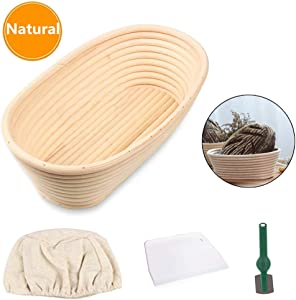 Bread Proofing Basket, Baking Dough Bowl Gifts for Bakers Proving Baskets for Sourdough Lame Bread with Cloth Liner, Scraper, Bread Cutter ,for Home Bakers (Oval 9.8inch)