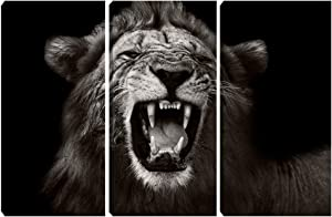 Black Lion Canvas Poster Prints Wall Art 3 Pieces Animals Picture Poster Office Wall Decor Living Room Bedroom Home Decoration Artwork Framed Ready to Hang 16