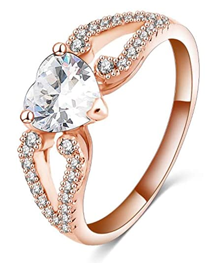 5c89d6d0eee0c Heart Cubic Zirconia Promise Ring,14k Rose Gold Split Shank CZ Engagement  Ring,Size 6 7 8 9