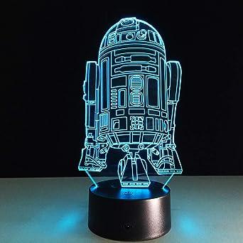 Cool R2D2 robot novedad luz de noche 3D lámpara de mesa de mesita ...