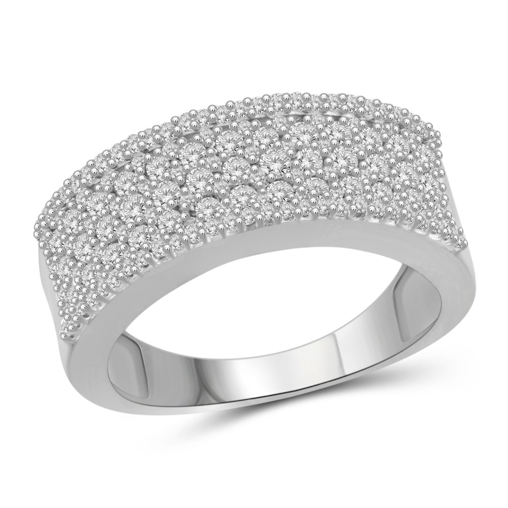 1.00 Carat T.W. White Diamond Sterling Silver Band Ring Size-8