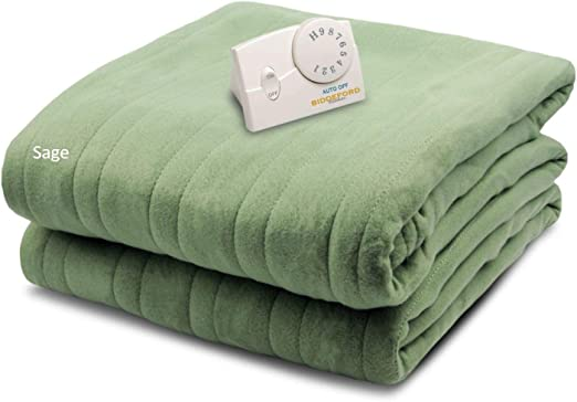 Amazon Com Biddeford Blankets Comfort Knit Electric Heated Blanket With Analog Controller Twin Sage Green Home Kitchen