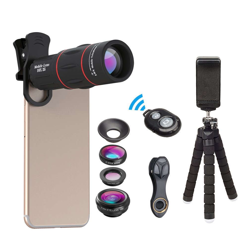 Apexel Phone Photography Kit-Flexible Phone Tripod +Remote Shutter +4 in 1 Lens Kit-High Power 18X Monocular Telephoto Lens, Fisheye, Macro & Wide Angle Lens for iPhone X 8 7 6 Plus Samsung Smartphone T18XBZJ5