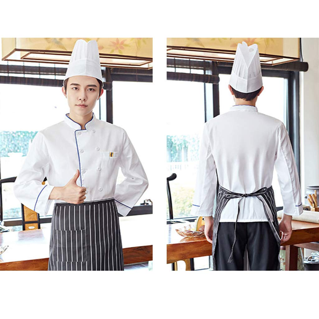 B Blesiya Chaqueta de Chef para Hombre Uniforme Cocinero Herramientas Manuales El/éctrica Parte Trabajo Blanco XL
