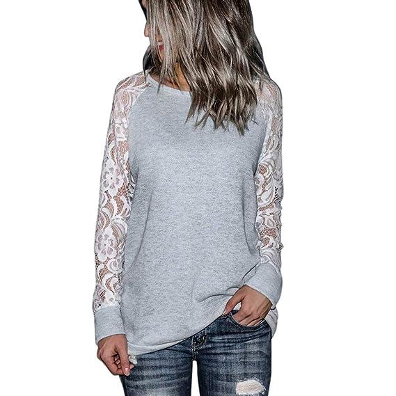 Camisas de otoño Invierno,Dragon868 2018 Moda otoño Ropa Mujer Encaje Floral Empalme O-Cuello Camiseta Blusa.: Amazon.es: Ropa y accesorios