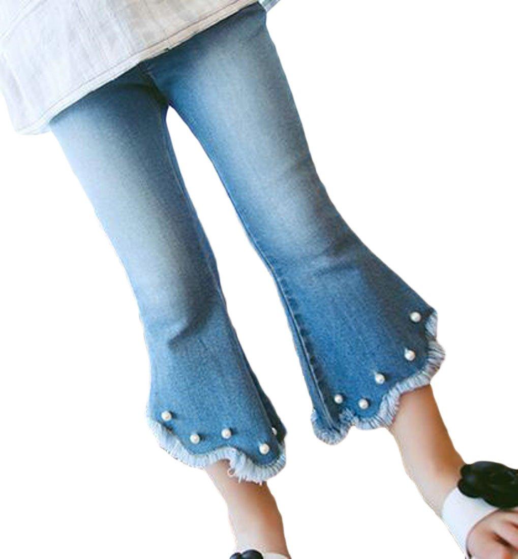 Cromoncent Toddler Girls' Pull On Jeans Flare Flare Leg Beaded Denim Pants Blue 4T
