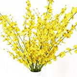 "MISSWARM 10 Pieces 37.7"" Long of Orchid Dancing Lady Butterfly Artificial Flower Artificial Flowers Fake Flower for Wedding Home Office Party Hotel Restaurant Patio or Yard Decoration(Yellow)"