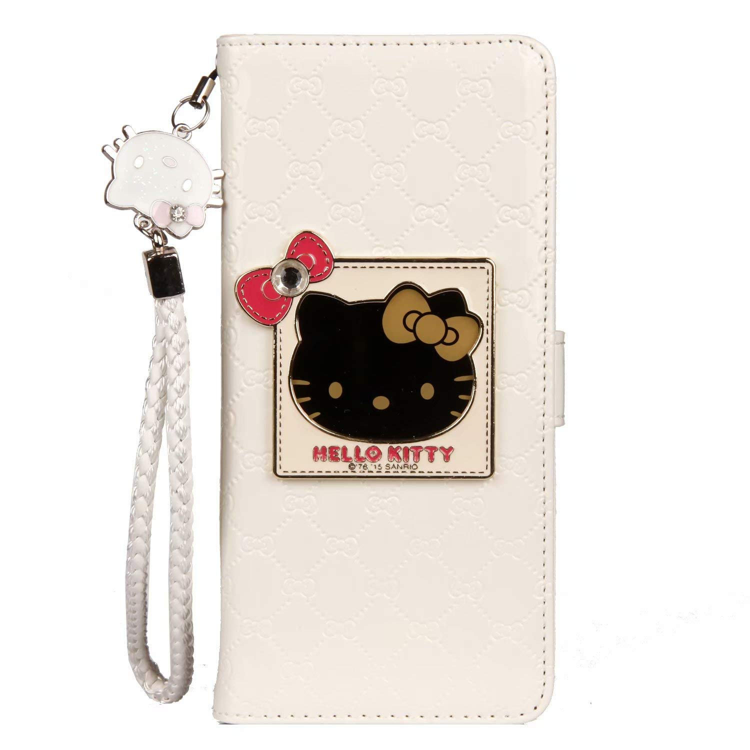 35c05aa61 iPhone 6 / 6s Hello Kitty Wallet Case,Bling Mirror Bowknot PU Leather Purse  Card Slot Pouch Flip Cover Kickstand Case for Girl Woman Lady (White, ...