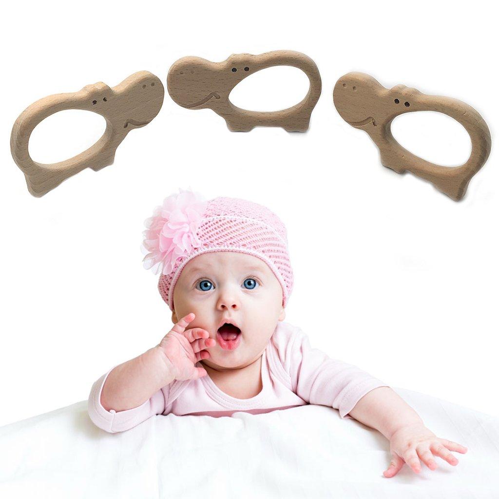 cuigu Madera Beb/é Mordedor Natural Madera Infantil Enfermedades juguete para beb/é , forma de hipop/ótamo de madera Mordedor, beruhig Extremo Dolor juguete para beb/é