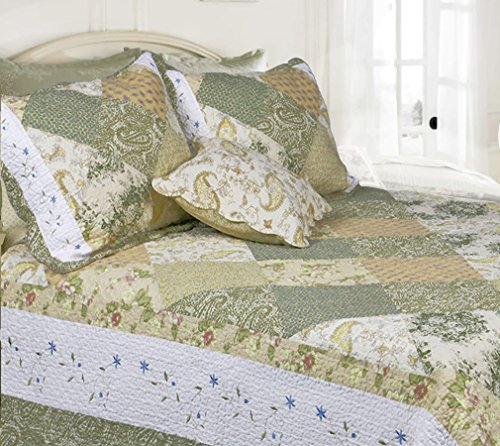 Cozy Line Home Fashions Floral Real Patchwork Green Beige Khaki Yellow Country, 100% COTTON Quilt Bedding Set, Reversible Coverlet Bedspread, Scalloped Edge,Gifts for Women (Laura, Twin - 2 piece)