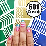 #7: 601 Reusable Nail Art Stencils Vinyl - 16 Different Shapes: Chevrons,Tribal,French Tip & More Adhesives Stripe Guides Patterns Designs 3 Sheets Supplies Kit Sticker Tape Decal Craft Gift Teen Girl