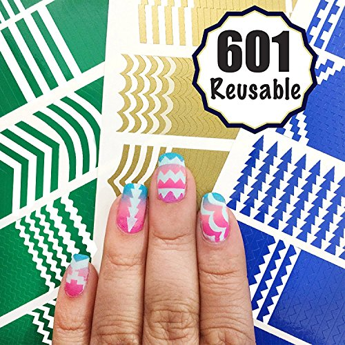 601 Reusable Nail Art Stencils Vinyl - 16 Different Shapes: Chevrons,Tribal,French Tip & More Adhesives Stripe Guides Patterns Designs 3 Sheets Supplies Kit Sticker Tape Decal Craft Gift Teen Girl (Nail Stickers Stencils)