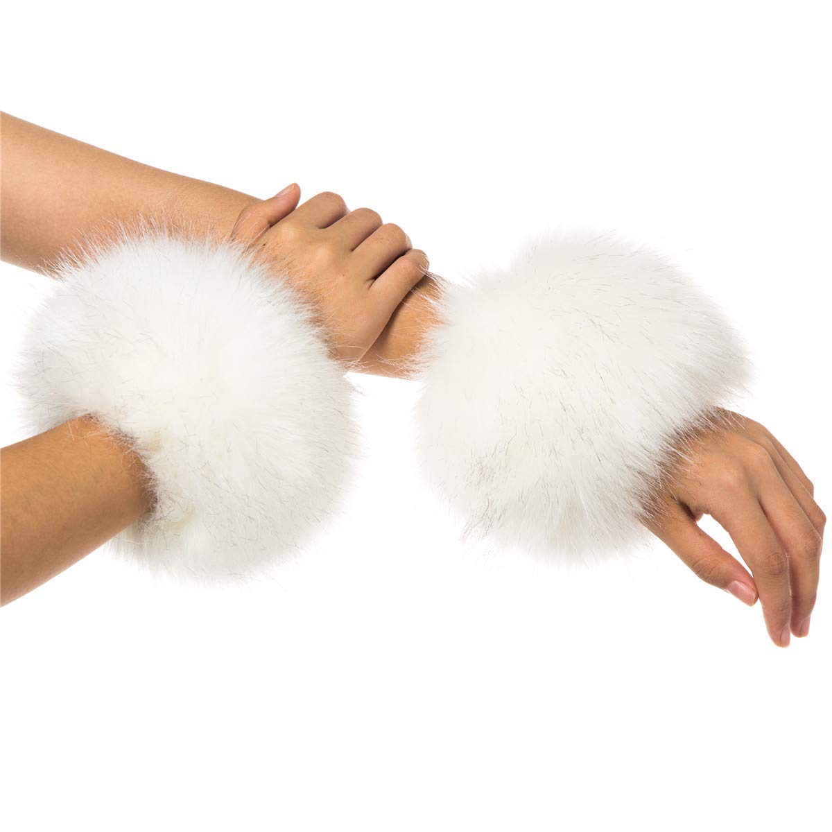 Lucky Leaf Women Winter Wrist Warmers Faux Fur Soft Cuffs Band Ring