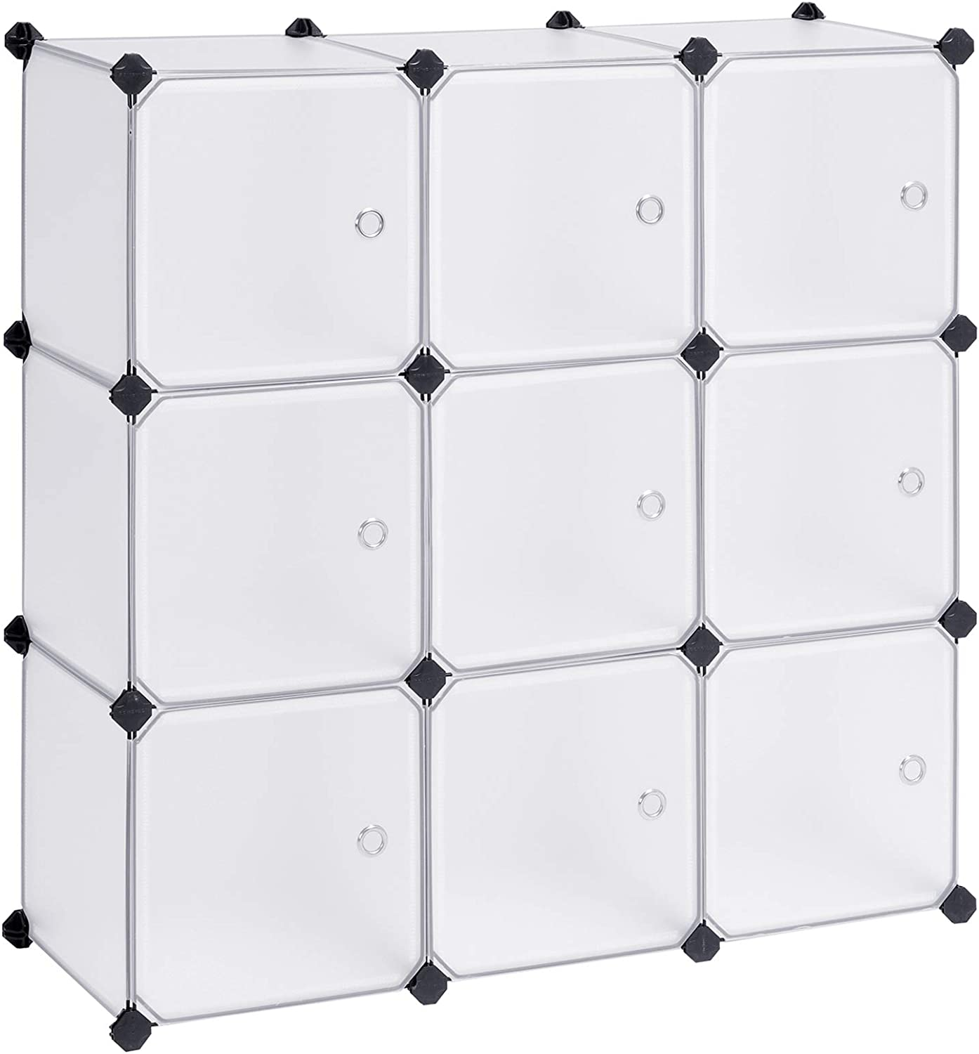 SONGMICS Cube Storage Organizer, 9-Cube DIY Plastic Closet Cabinet, Modular Bookcase, Storage Shelving with Doors for Bedroom, Living Room, Office, 36.7 L x 12.2 W x 36.7 H Inches, White ULPC116WSV1