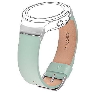 V-moro Bracelet de rechanger pour montre connectée Samsung Gear S2, cuir véritable avec