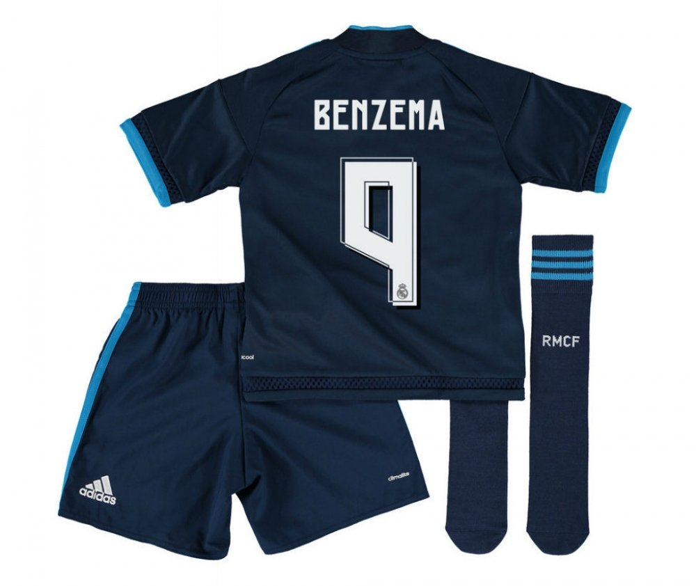 2015-2016 Real Madrid Third Mini Kit (Benzema 9) B077VLCMD4Navy 3-4 Years