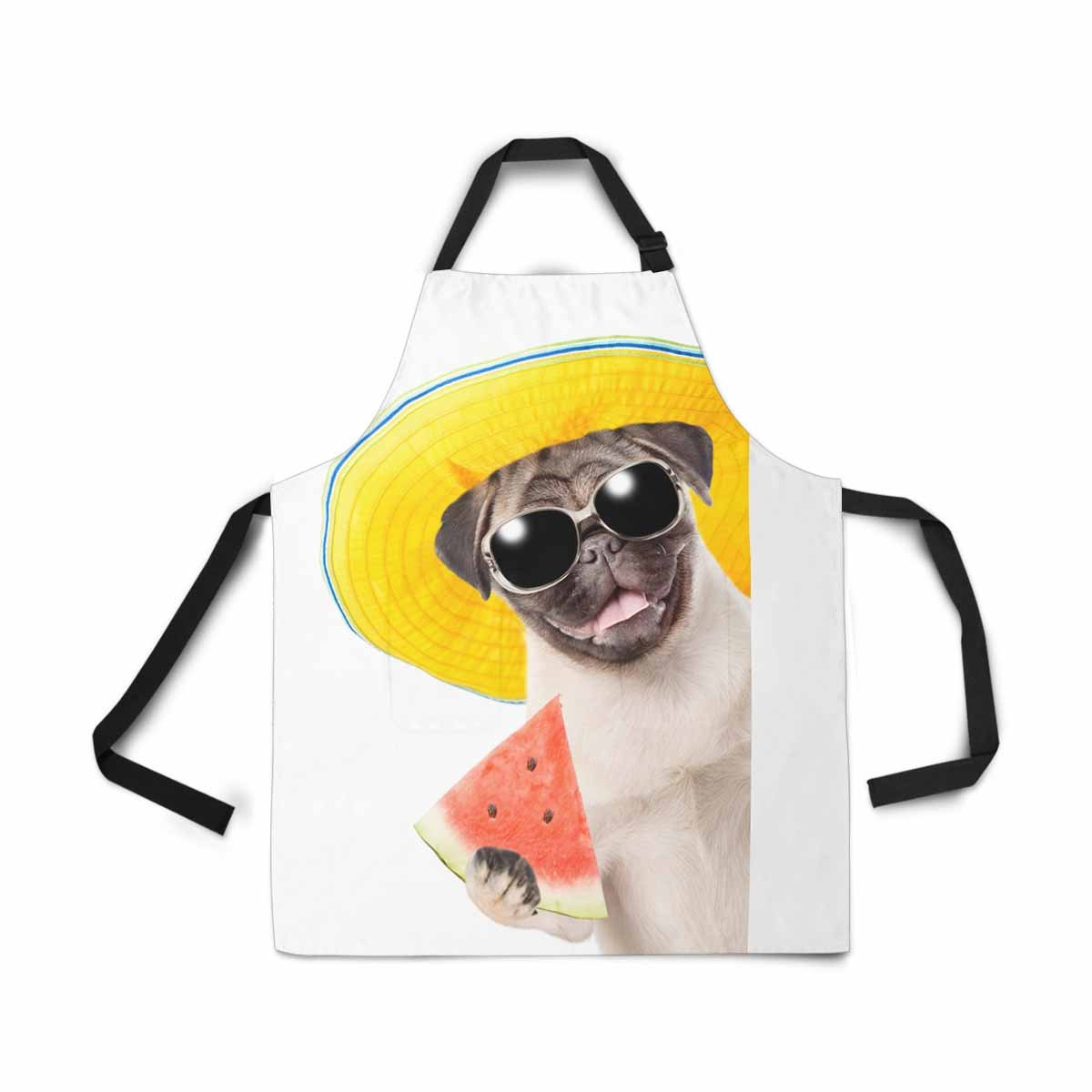 InterestPrint Funny Summer Puppy Dog with Sunglasses Holding Watermelon Chef Kitchen Apron, Adjustable Strap & Waist Ties, Front Pockets, Perfect for Cooking, Baking, Barbequing, Large Size by InterestPrint (Image #2)