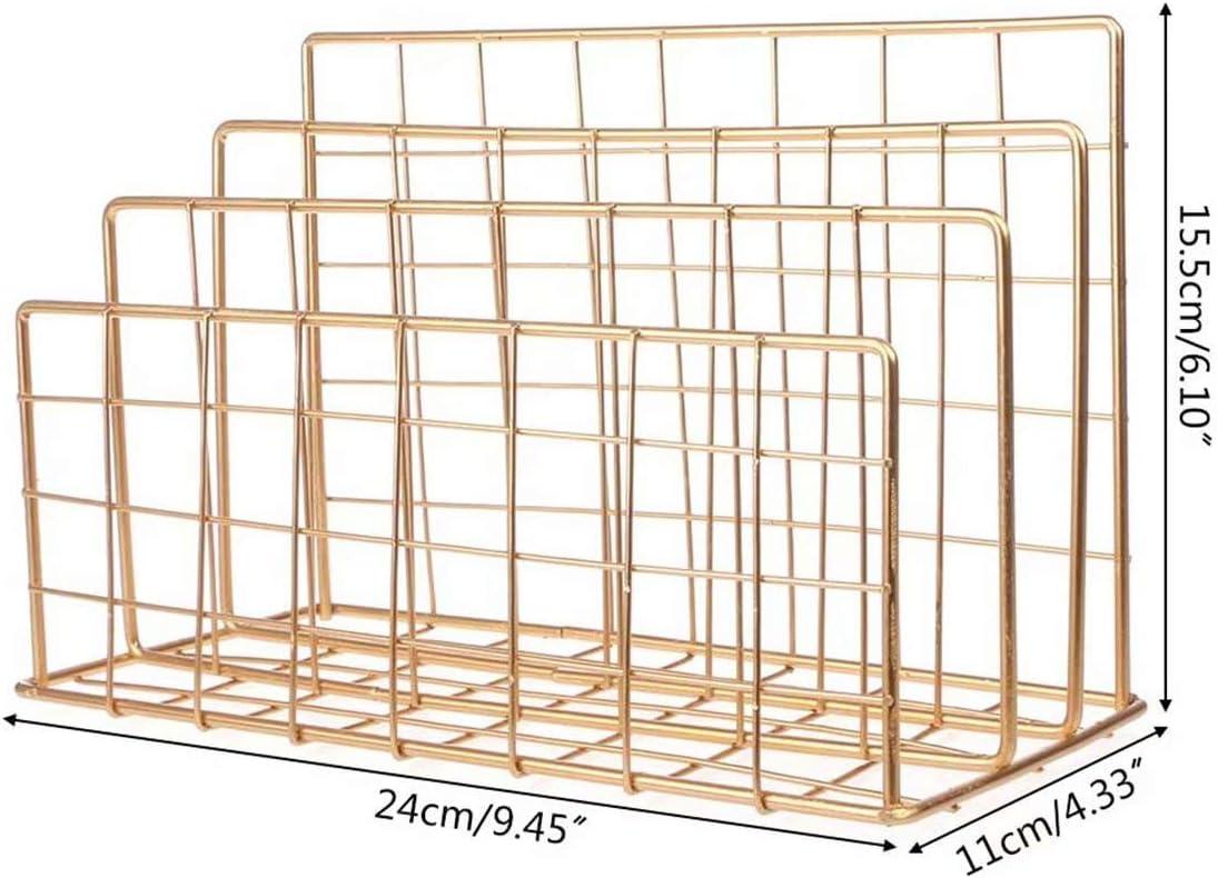 Metal Magazine File Holder Organizer Home Office Desk File Organizer Paper Book Newspapers Mail Storage Rack Office Supplies Storage Organizer Gold