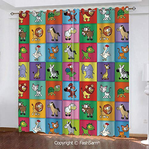 Best Home Fashion Blackout Curtains Group of Funny Young Animals in Colorful Squares Happy Cartoon Wildlife Collection Decorative Window Treatment Pair for Bedroom(84