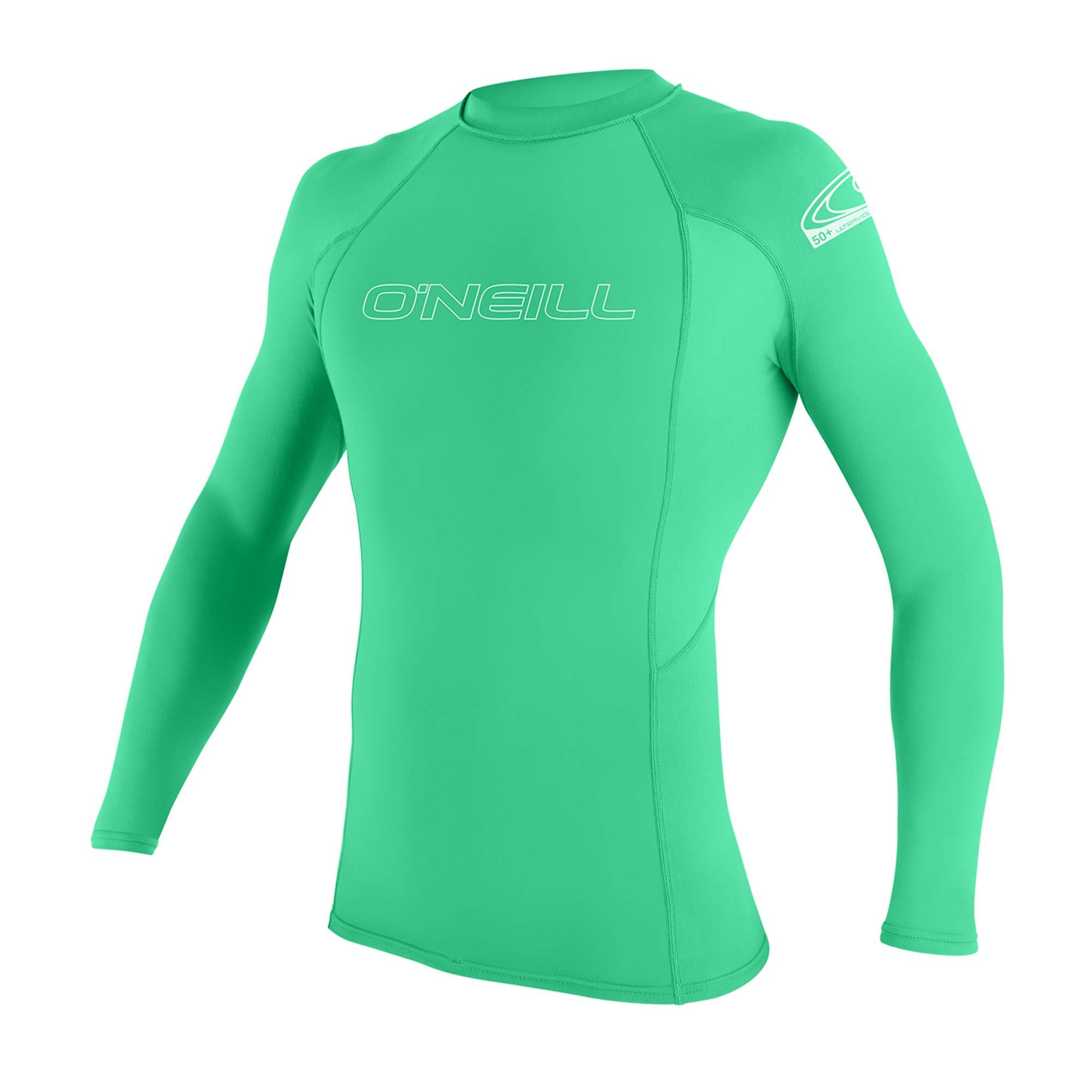 O'Neill Youth Basic Skins UPF 50+ Long Sleeve Rash Guard, Sea Glass, 4