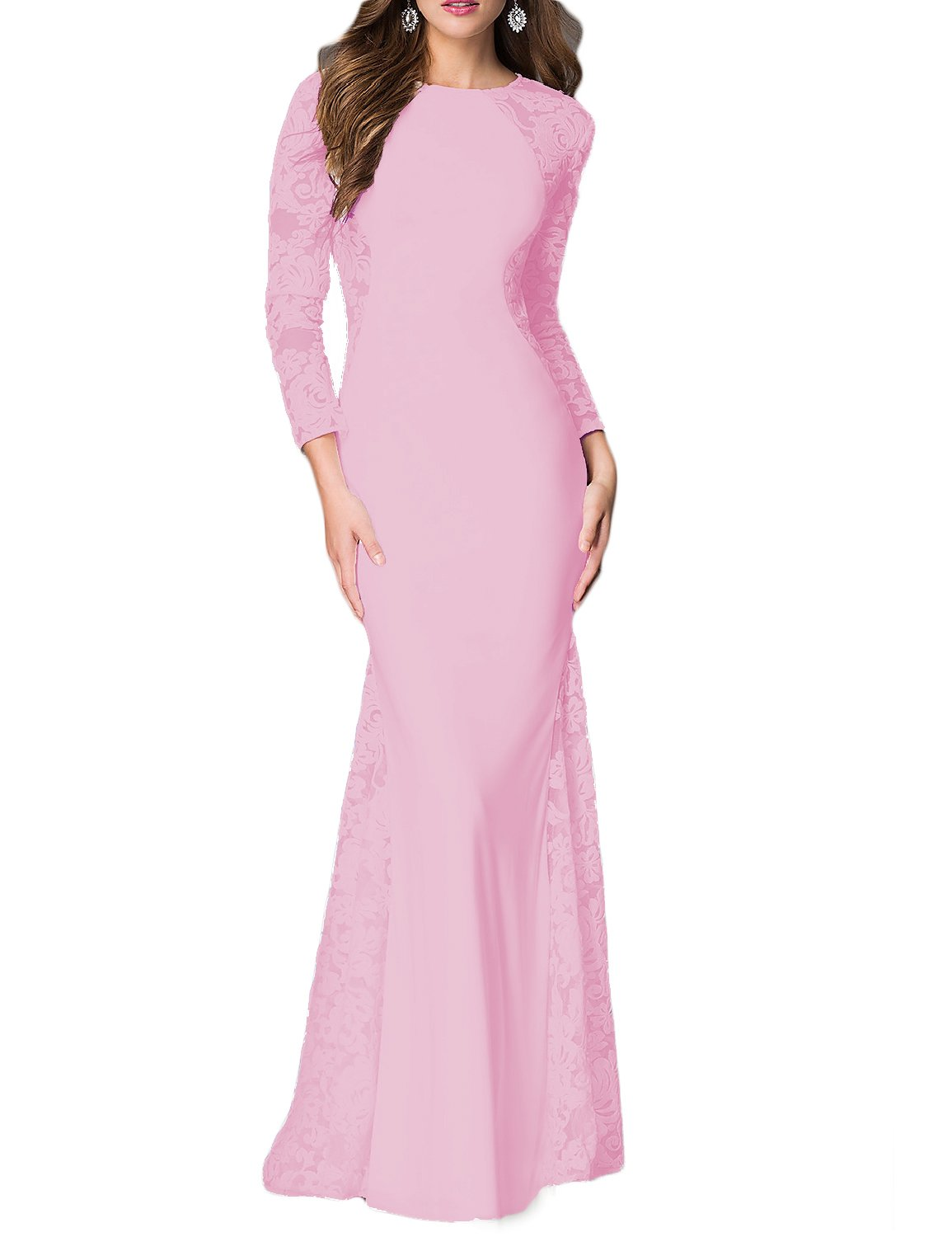 YSMei Womens Long Mermaid Evening Dresses with Sleeves Prom Formal Gowns YEV143