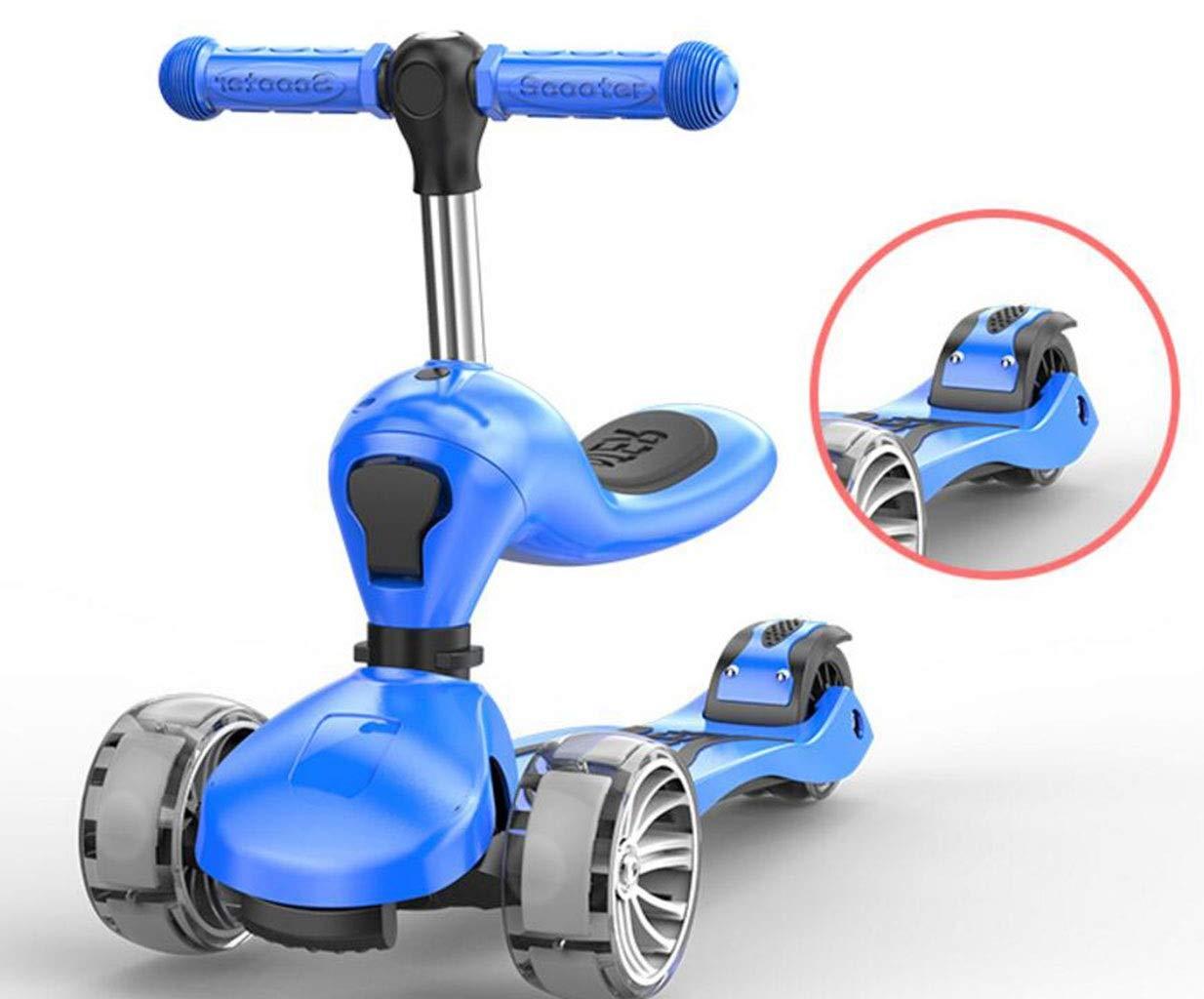 Children's scooter kick scooter children's kids 3 wheel scooter, 2 in 1 super wide wheel kids scooter, one button conversion adjustable height handle, scooter children boys and girls 1 or more childre by JBHURF (Image #8)