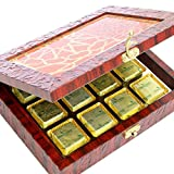Diwali Mewa Bites- Lazer Orange Wooden Jewellery box with 12 Pcs Mewa Bites Box