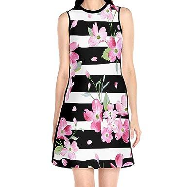 0fb7da5ea7 Women's Sleeveless Dress Spring Summer Floral Flowers Fashion Casual Party  Slim A-Line Dress Midi Tank Dresses at Amazon Women's Clothing store: