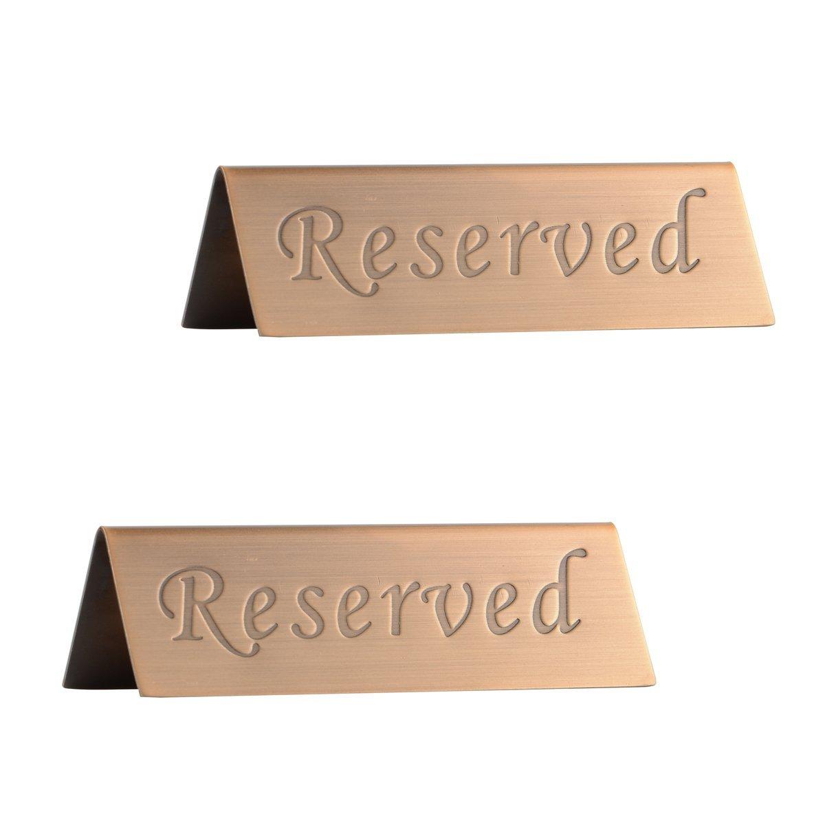 Reservedサイン – BrushedステンレススチールFree Standingテーブルトップコンプライアンスサイン – 両面 – 4.7 by 1.6インチ – のセット2 S ゴールド OKO-RDS-0730-JJ24A  Copper(2Pcs/Pack) B07G125F83